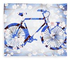 Spring Bicycle  Fleece Blanket