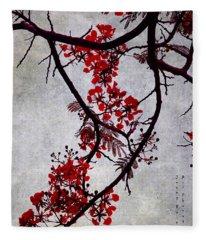 Spring Bloosom In Maldives. Flamboyant Tree II. Japanese Style Fleece Blanket