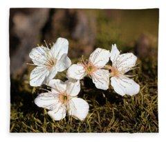 Spring Blossoms On Moss Fleece Blanket
