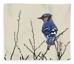 Spring Bluejay Fleece Blanket