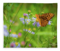 Spring Butterfly Fleece Blanket