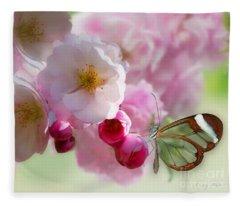 Spring Cherry Blossom Fleece Blanket