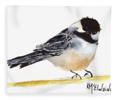My Little Chickadee Bird Art Watercolor And Gouache And Ink Painting By Kmcelwaine Fleece Blanket