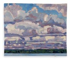 Spring Cumulus Fleece Blanket