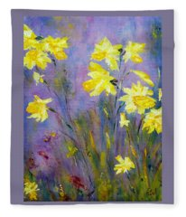 Spring Daffodils Fleece Blanket