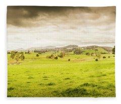 Spring Field In Springfield Fleece Blanket
