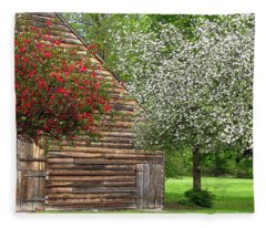 Fleece Blanket featuring the photograph Spring Flowers And The Barn by Nancy De Flon