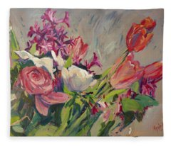 Spring Flowers Bouquet Fleece Blanket