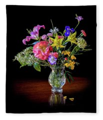 Spring Flowers In A Crystal Vase Fleece Blanket
