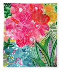 Spring Garden- Watercolor Art Fleece Blanket