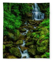 Spring Green Waterfall And Rhododendron Fleece Blanket