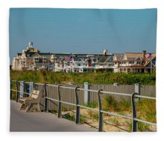 Spring Lake Boardwalk View Fleece Blanket