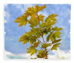 Spring Maple Leaves Fleece Blanket