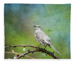 Spring Mockingbird Fleece Blanket