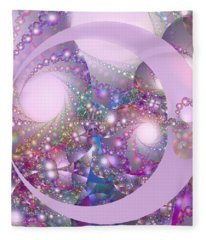 Spring Moon Bubble Fractal Fleece Blanket