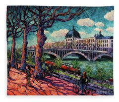 Spring On The Banks Of The Rhone - Lyon France - Modern Impressionist Oil Painting By Mona Edulesco Fleece Blanket
