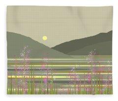 Spring On The River Fleece Blanket