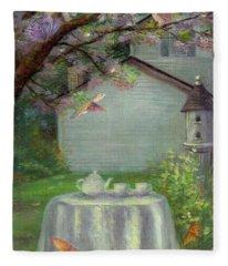 Spring Orchard Teatime Fleece Blanket