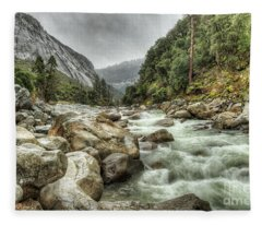 Spring Rushing Waters Merced River Yosemite National Park Fleece Blanket