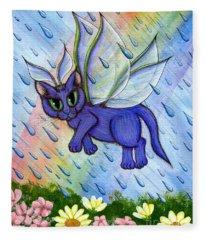 Spring Showers Fairy Cat Fleece Blanket