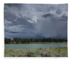 Spring Thunderstorm At Yellowstone Fleece Blanket
