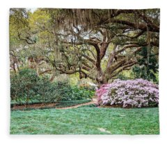 Spring Azaleas In Florida Fleece Blanket
