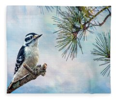 Spring Woodpecker Fleece Blanket