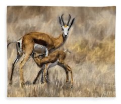 Springbok Mom And Calf Fleece Blanket