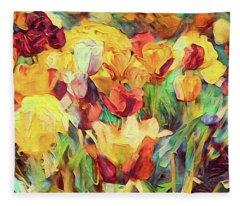 Spring's First Tulips Fleece Blanket