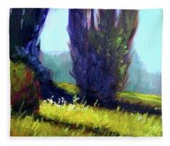 Springtime Poplar Hedge Fleece Blanket
