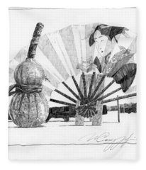 Spirit Of Japan. Pumpkin Jar And Fan Fleece Blanket