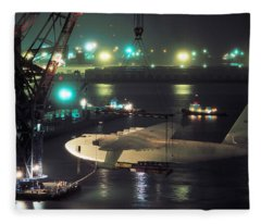 Spruce Goose Hanging From Crane February 10 1982 Fleece Blanket