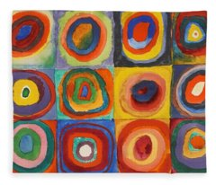 Squares With Concentric Circles Fleece Blanket