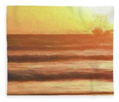 Squid Boat Sunset Fleece Blanket