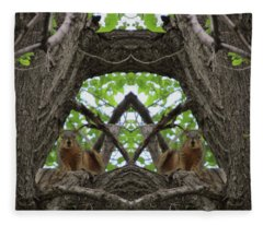 Squirrel Guardians Of The Doorway To A Green World Fleece Blanket
