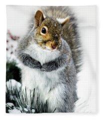 Squirrel In Snow Fleece Blanket