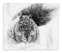 Squirrel In Snow Storm Fleece Blanket
