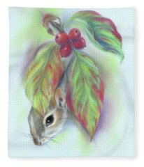 Squirrel In The Autumn Dogwood Fleece Blanket