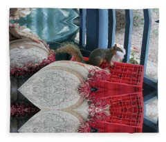 Squirrel Stealing Stuffing For A Nest Fleece Blanket