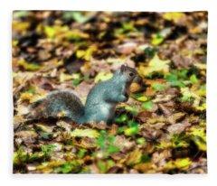 Squirrel With Walnut Fleece Blanket