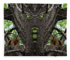 Squirrels Advising The Tiki God Fleece Blanket