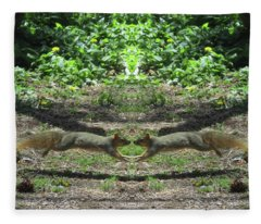 Squirrels Coming Together For A Kiss Fleece Blanket