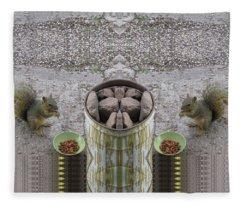 Squirrels Dining On Cat Food Al Fresco Fleece Blanket