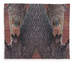 Squirrels In A Tree With Hands On Their Hearts Fleece Blanket