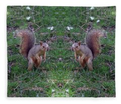 Squirrels With Question Mark Tails Fleece Blanket