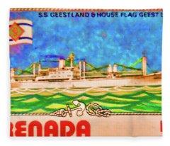 S.s Geestland And House Flag Geest Line Fleece Blanket