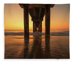 St Augustine Beach Pier Morning Light Fleece Blanket