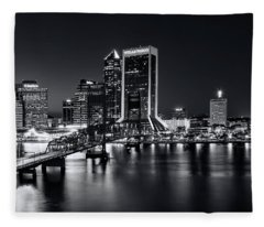 St Johns River Skyline By Night, Jacksonville, Florida In Black And White Fleece Blanket