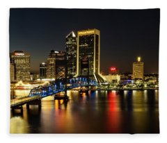 St Johns River Skyline By Night, Jacksonville, Florida Fleece Blanket