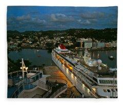 St. Lucia In The Evening Fleece Blanket
